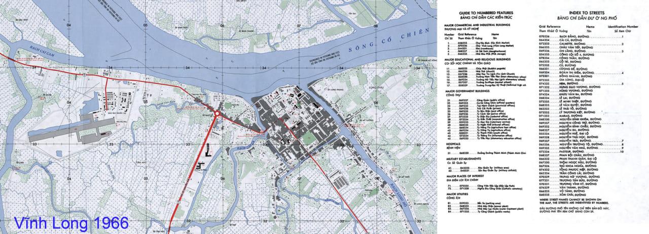 Bản đồ Vĩnh Long năm 1966 có chú thích