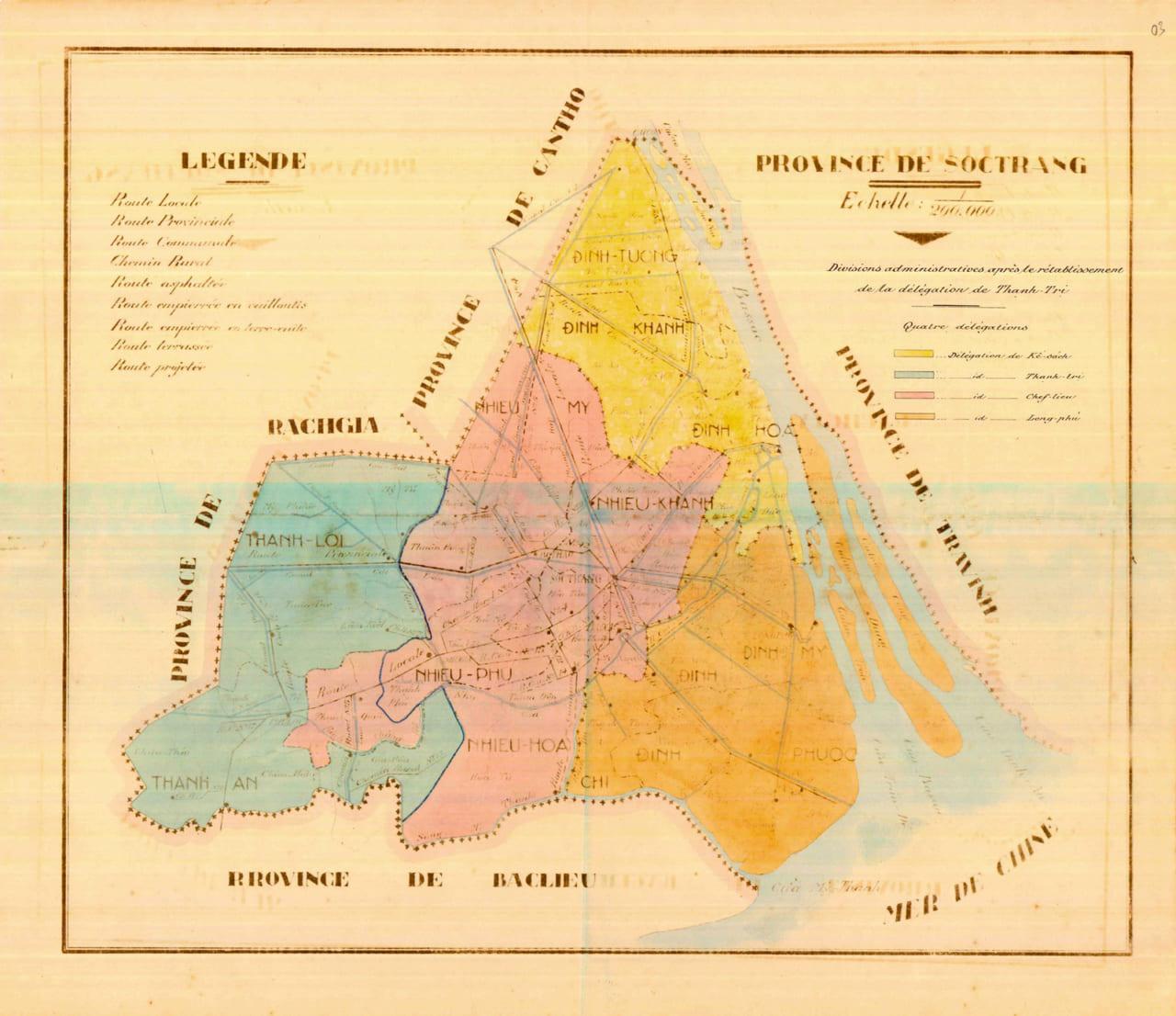 Bản đồ tỉnh Sóc Trăng năm 1943 - Tài liệu của phủ Thống đốc Nam Kỳ trước đây