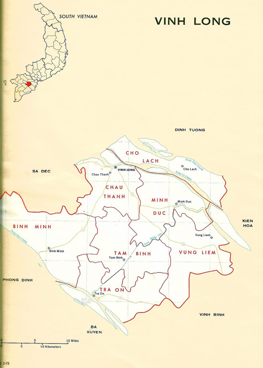 Bản đồ tỉnh Vĩnh Long năm 1973