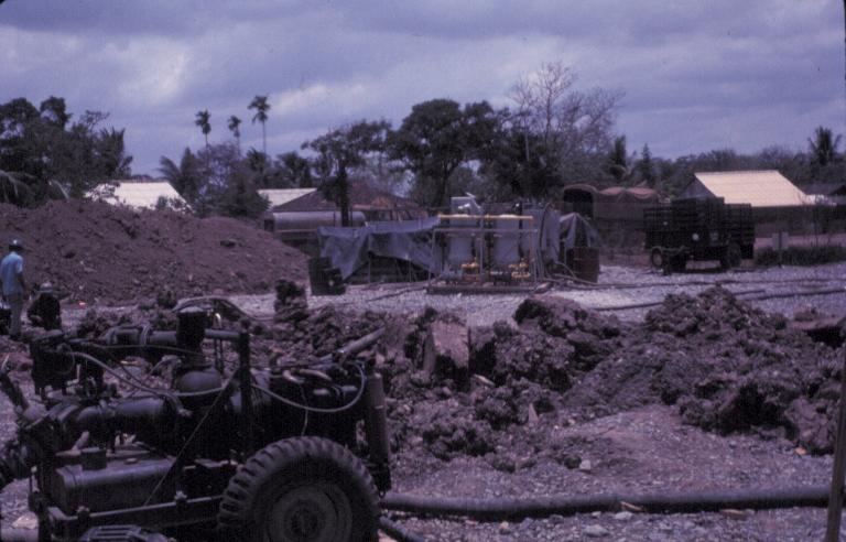 Con đường vào doanh trại Tân An ở Long An đang được xây dựng năm 1969 | Photo by Craig Ailles