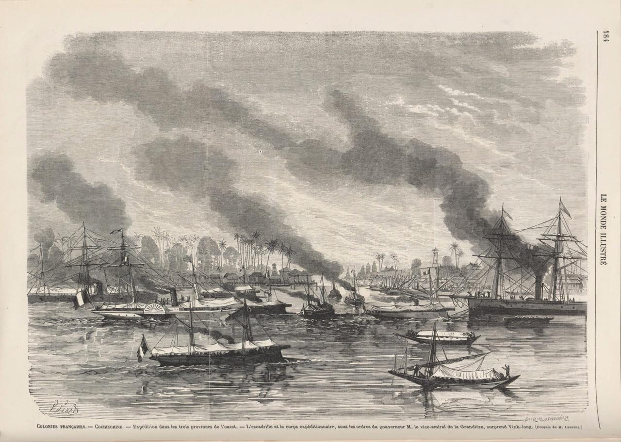 Bức vẽ về việc Phan Thanh Giản giao Vĩnh Long và 2 tỉnh Nam kỳ còn lại cho người Pháp ngày 24/8/1867