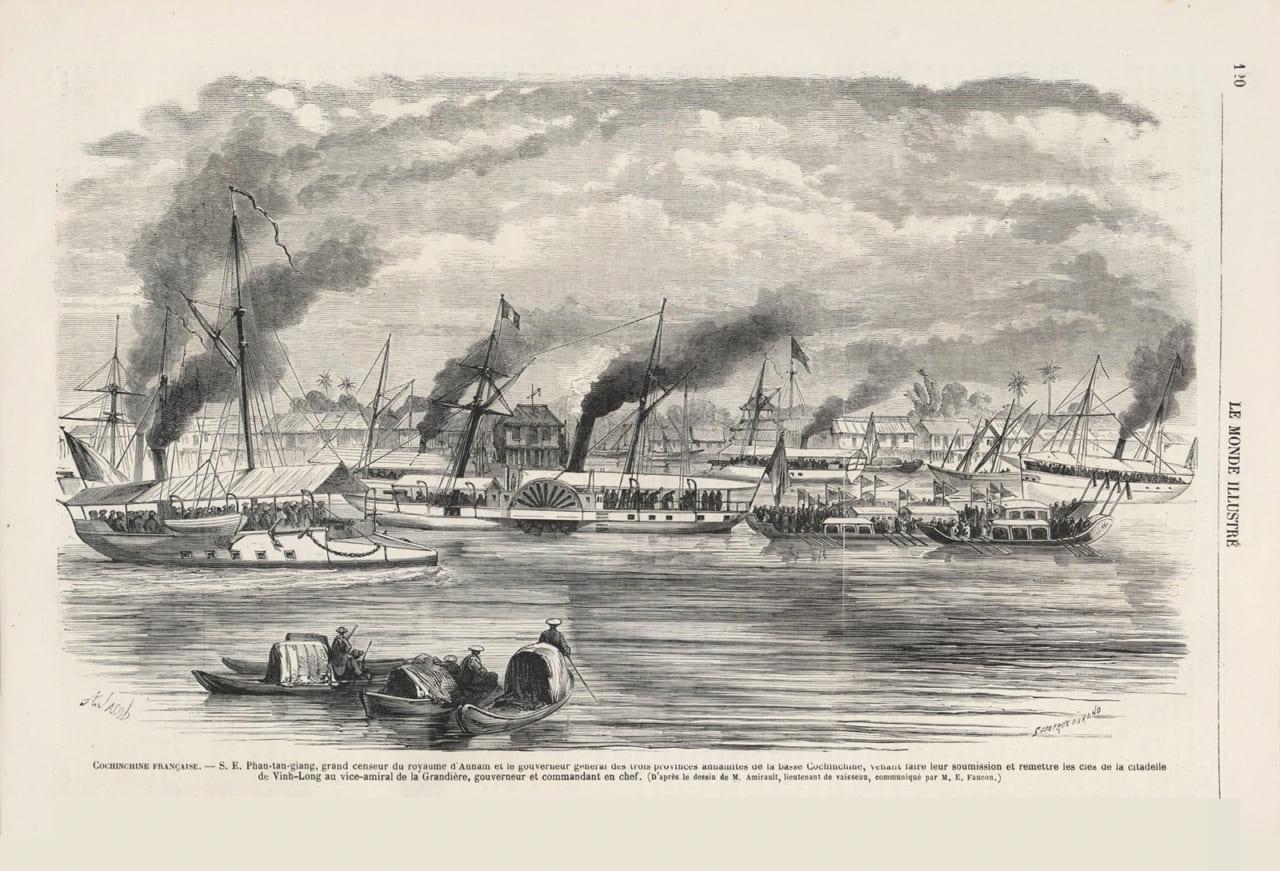 Bức vẽ về việc bàn giao tỉnh Vĩnh Long cho người Pháp ngày 24/8/1867