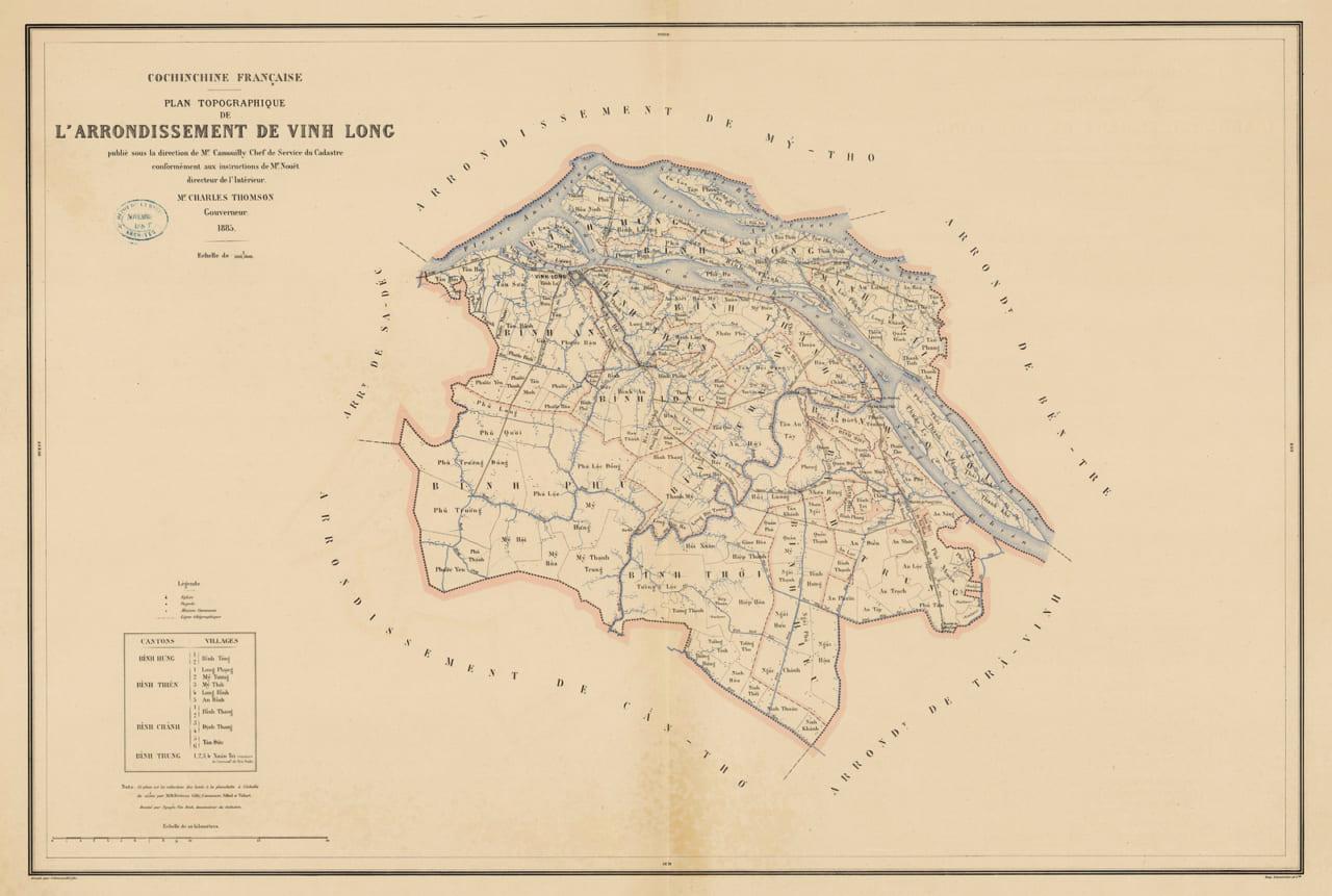 Quy hoạch địa hình tỉnh Vĩnh Long năm 1885