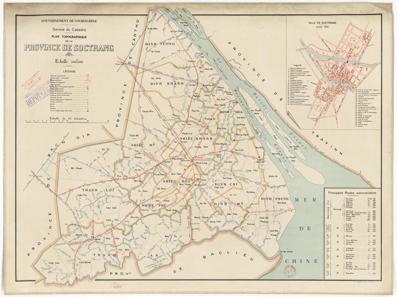 Bản đồ Sóc Trăng ảnh vệ tinh năm 1930