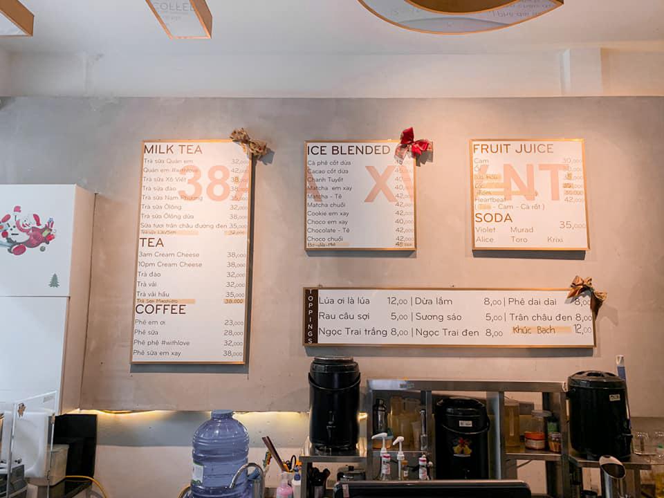 Menu quán cà phê Infini T Cần Thơ