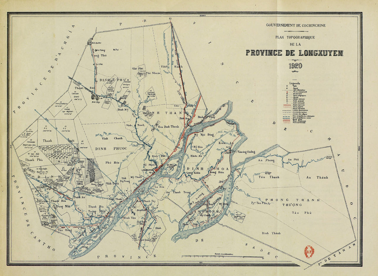 Bản đồ địa hình tỉnh Long Xuyên năm 1920