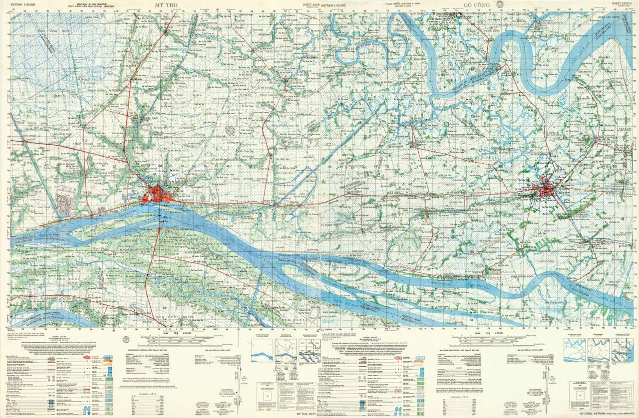 Bản đồ Mỹ Tho năm 1968 và Gò Công năm 1970