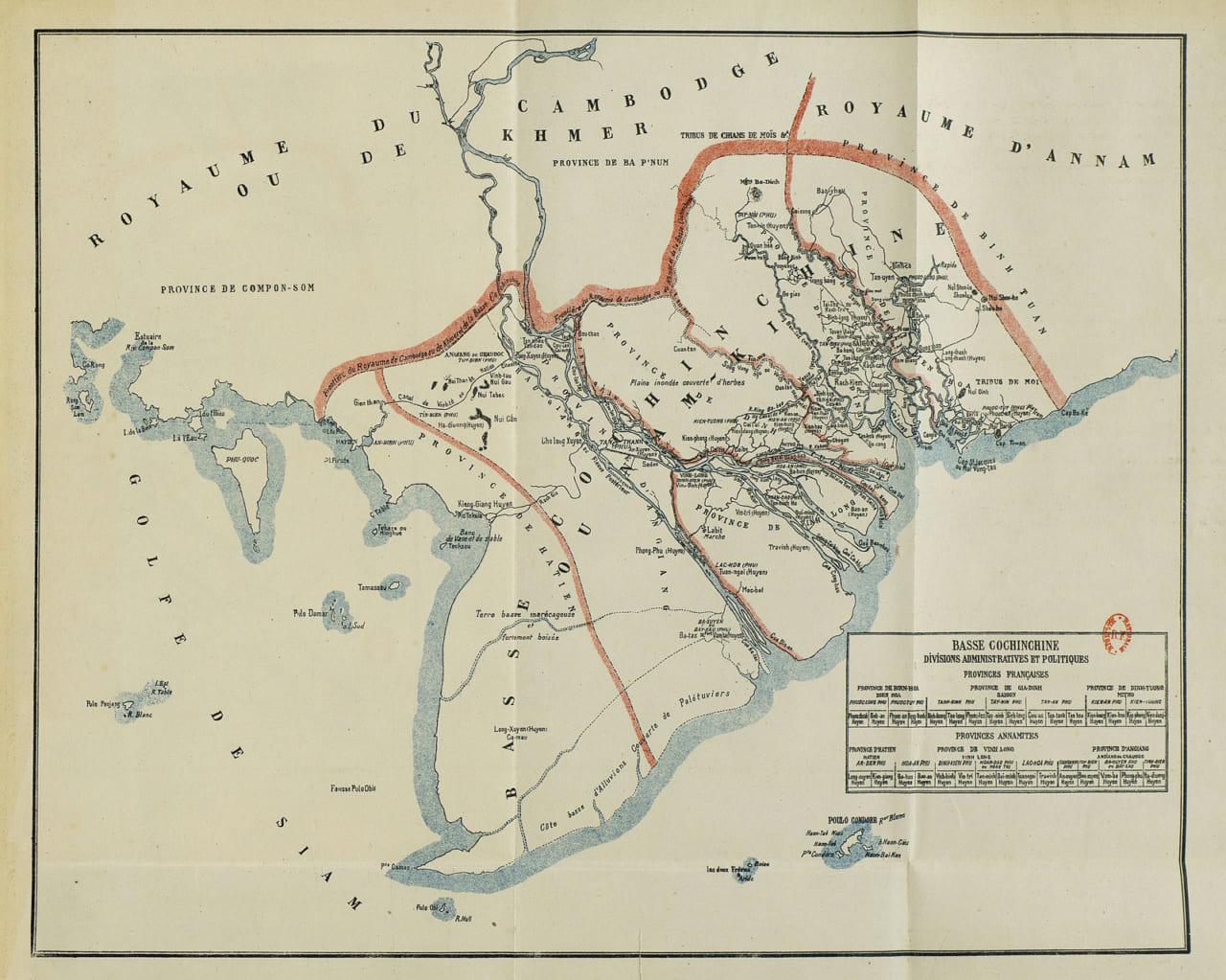 Bản đồ Nam Kỳ Lục Tỉnh trước năm 1861