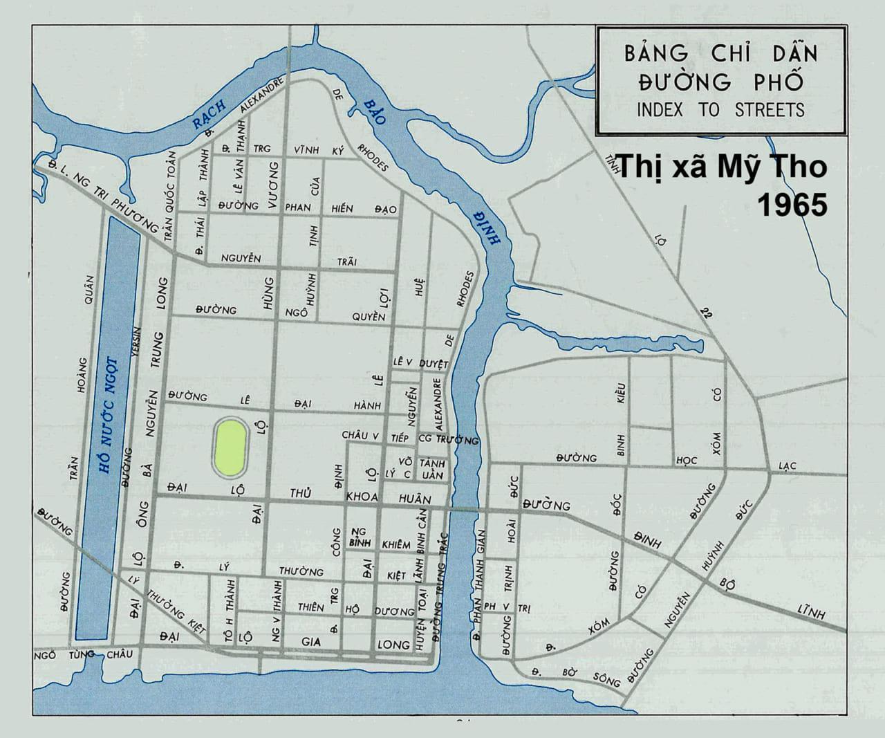 Bản đồ chỉ dẫn tên đường thị xã Mỹ Tho năm 1965