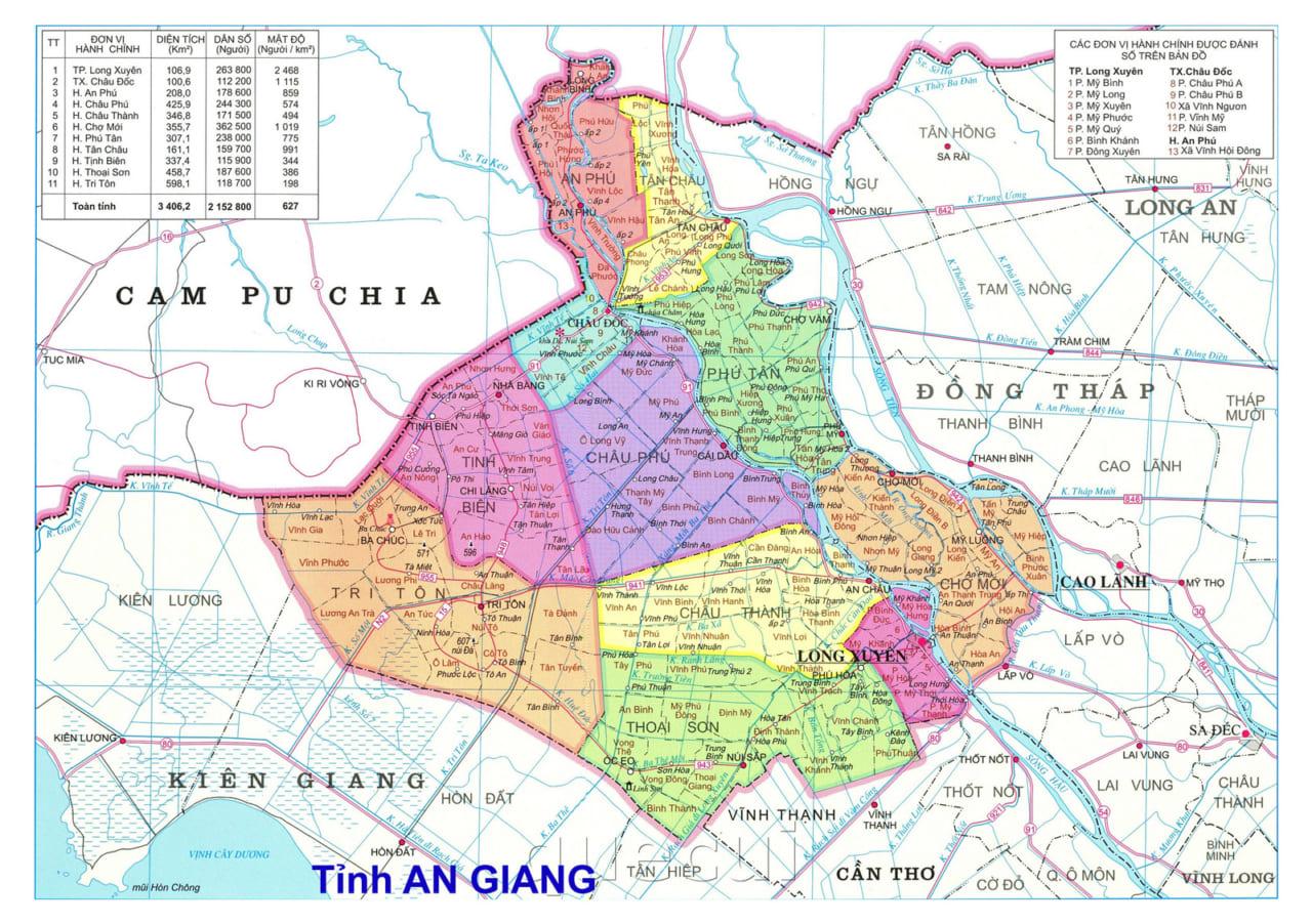 Bản đồ tỉnh An Giang trước năm 1975