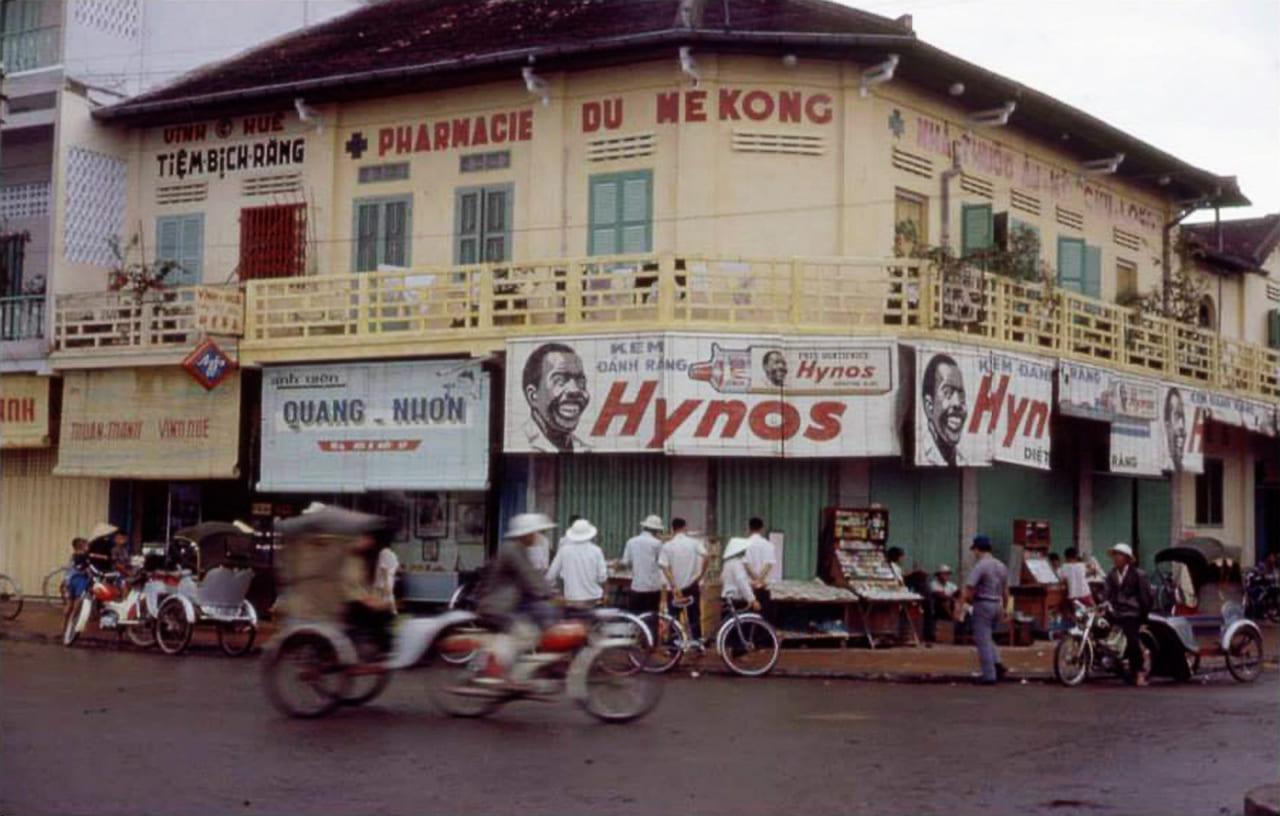 Góc ngã ba bến Ninh Kiều - Đại lộ Ngô Quyền đi đến đèn 3 ngọn Cần Thơ năm 1967