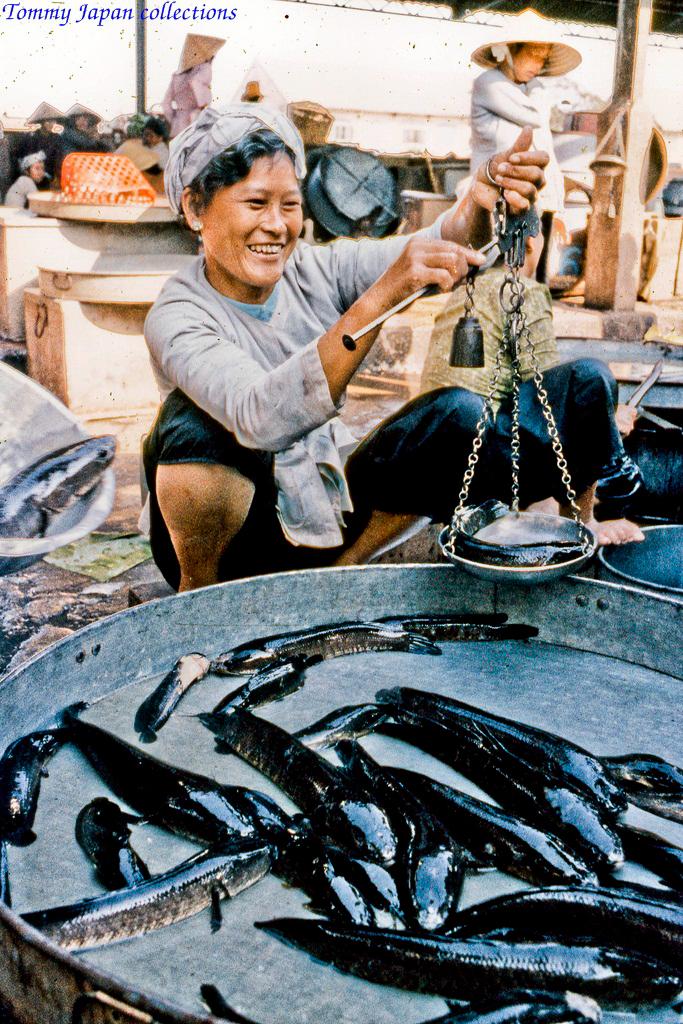 Cá lóc đồng ở chợ Mỹ Tho năm 1969   Photo by Lance Cromwell