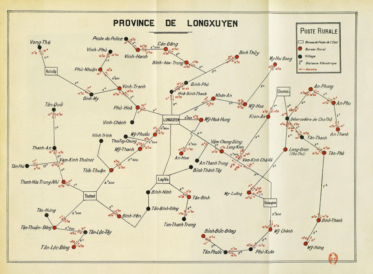 Hệ thống bưu trạm nông thôn (Giờ thư đến và chuyển thư) năm 1924