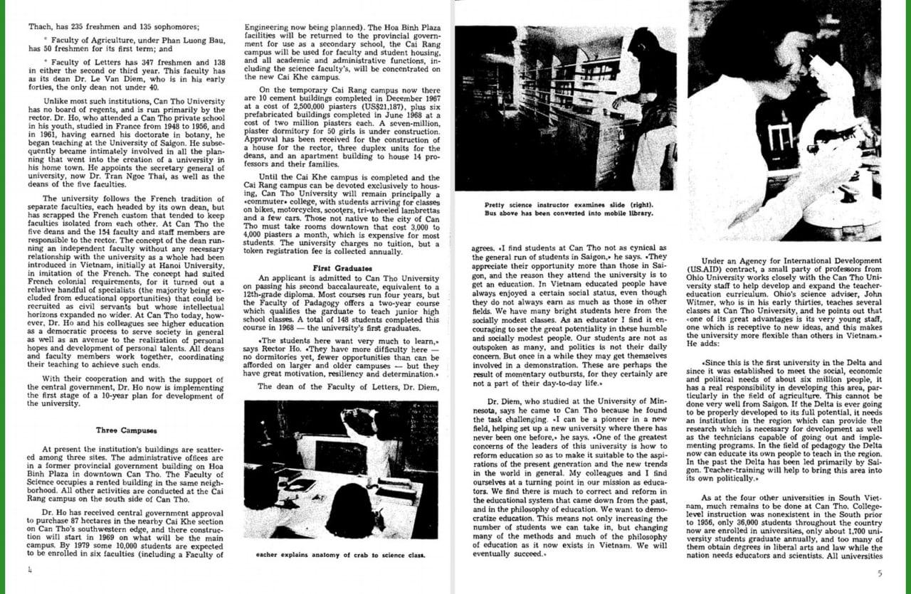 Một bài báo nói về chương trình nghiên cứu đào tạo ở ĐHCT năm 1969