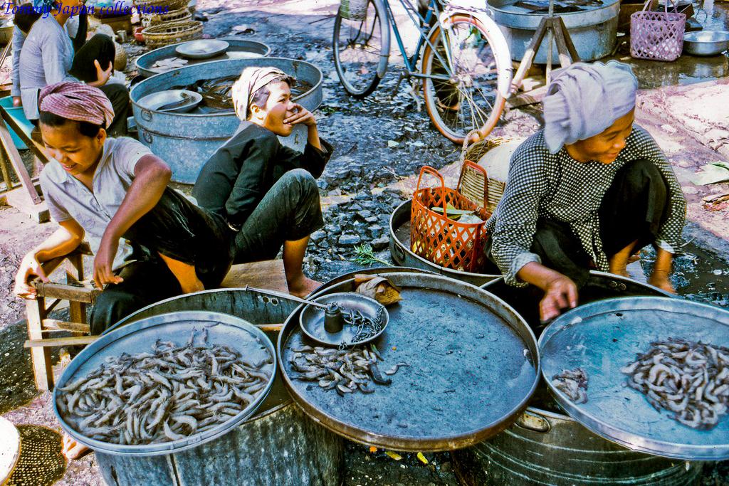 Sạp cá ở chợ Mỹ Tho năm 1969   Photo by Lance Cromwell