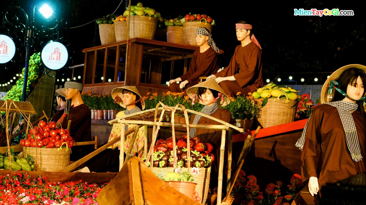 Tiểu cảnh buôn bán trái cây chợ nổi Cái Răng ở đường hoa Cần Thơ 2021