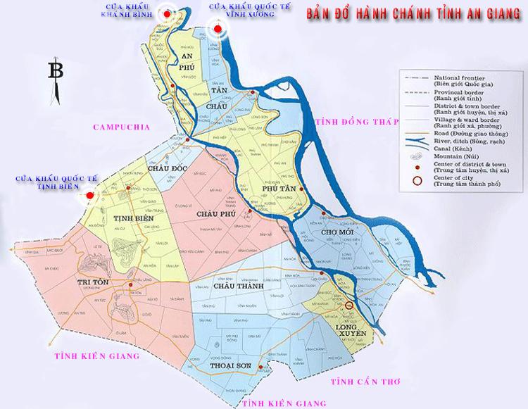 Bản đồ hành chính tỉnh An Giang hiện nay
