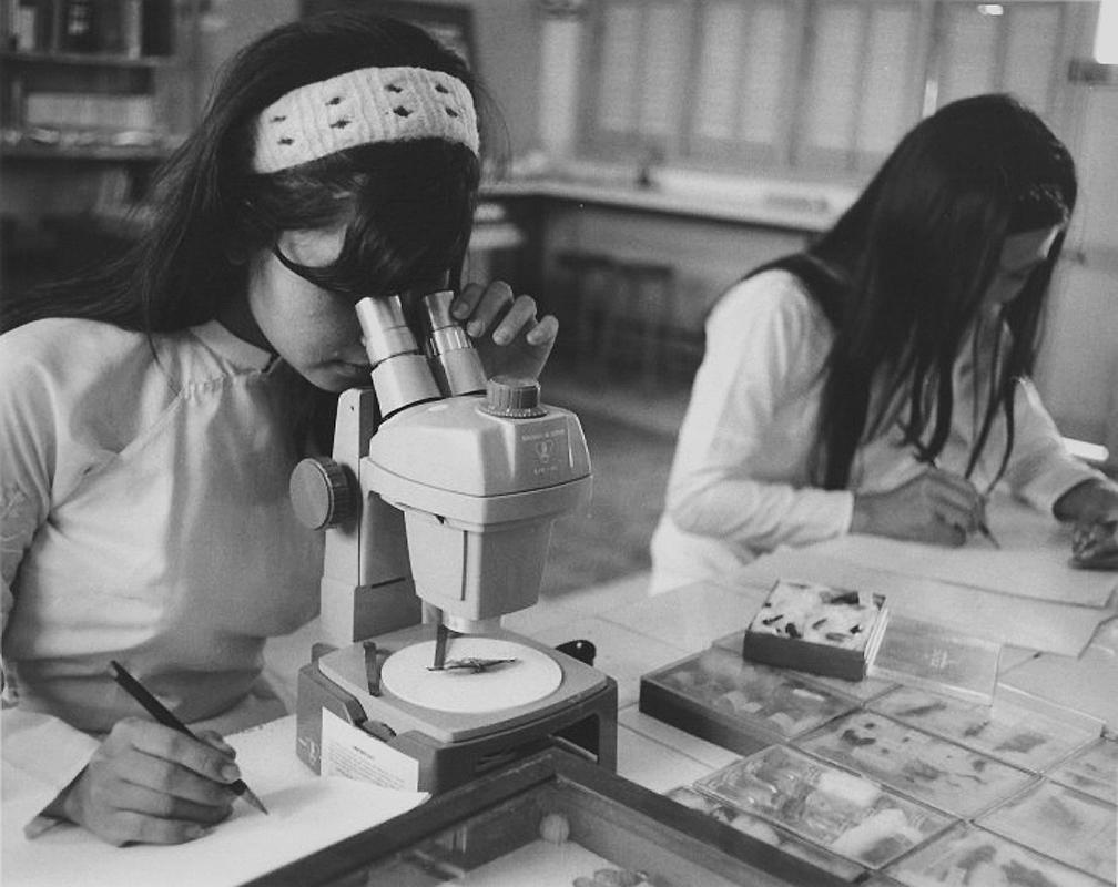 Sinh viên nghiên cứu mẫu vật ở khoa nông nghiệp đại học Cần Thơ xưa
