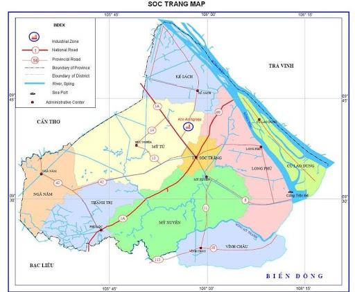 Bản đồ hành chính tỉnh Sóc Trăng hiện nay