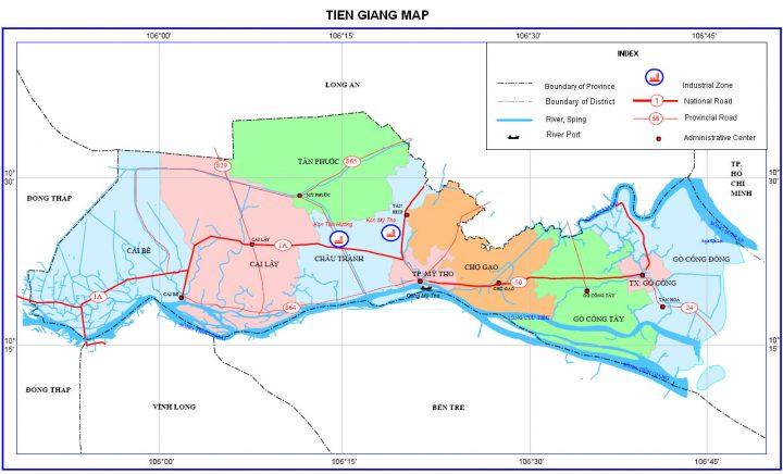 Bản đồ hành chính tỉnh Tiền Giang hiện nay