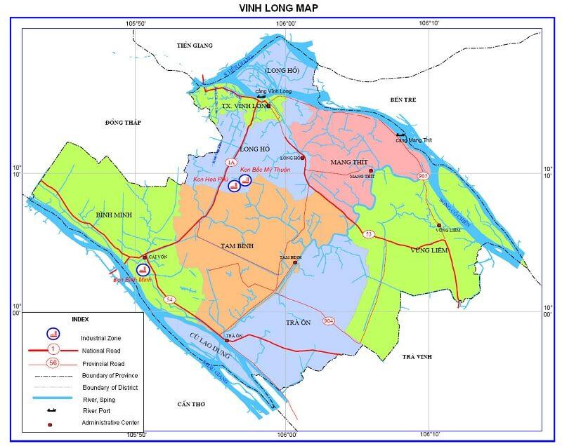 Bản đồ tỉnh Vĩnh Long ngày nay