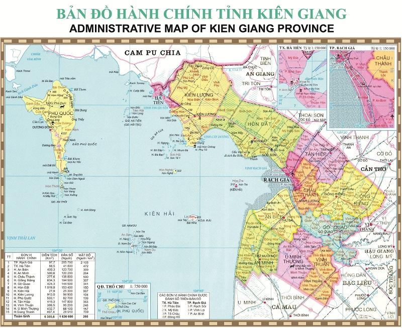 Bản đồ tỉnh Kiên Giang ngày nay