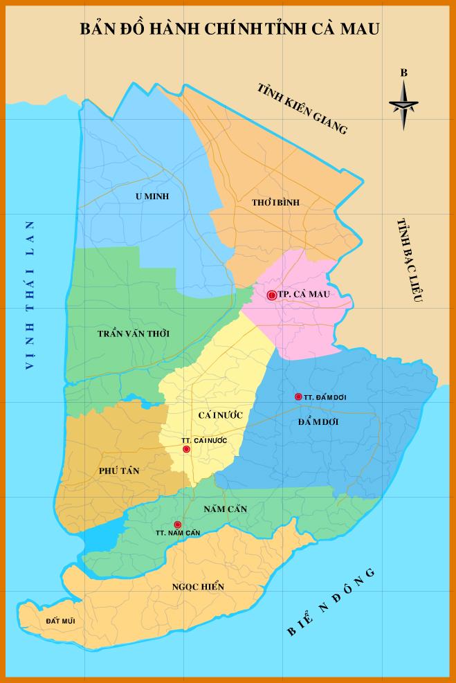 Bản đồ tỉnh Cà Mau