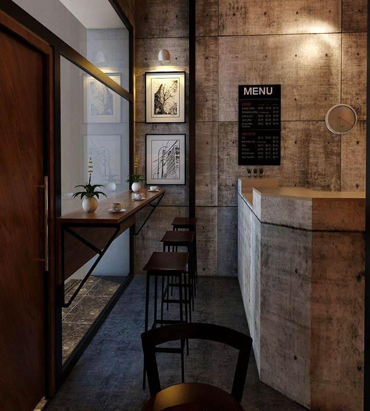 Không gian gần quầy bar nhìn ra đường phố