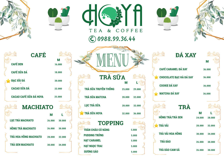 Menu Hoya Coffee Cần Thơ