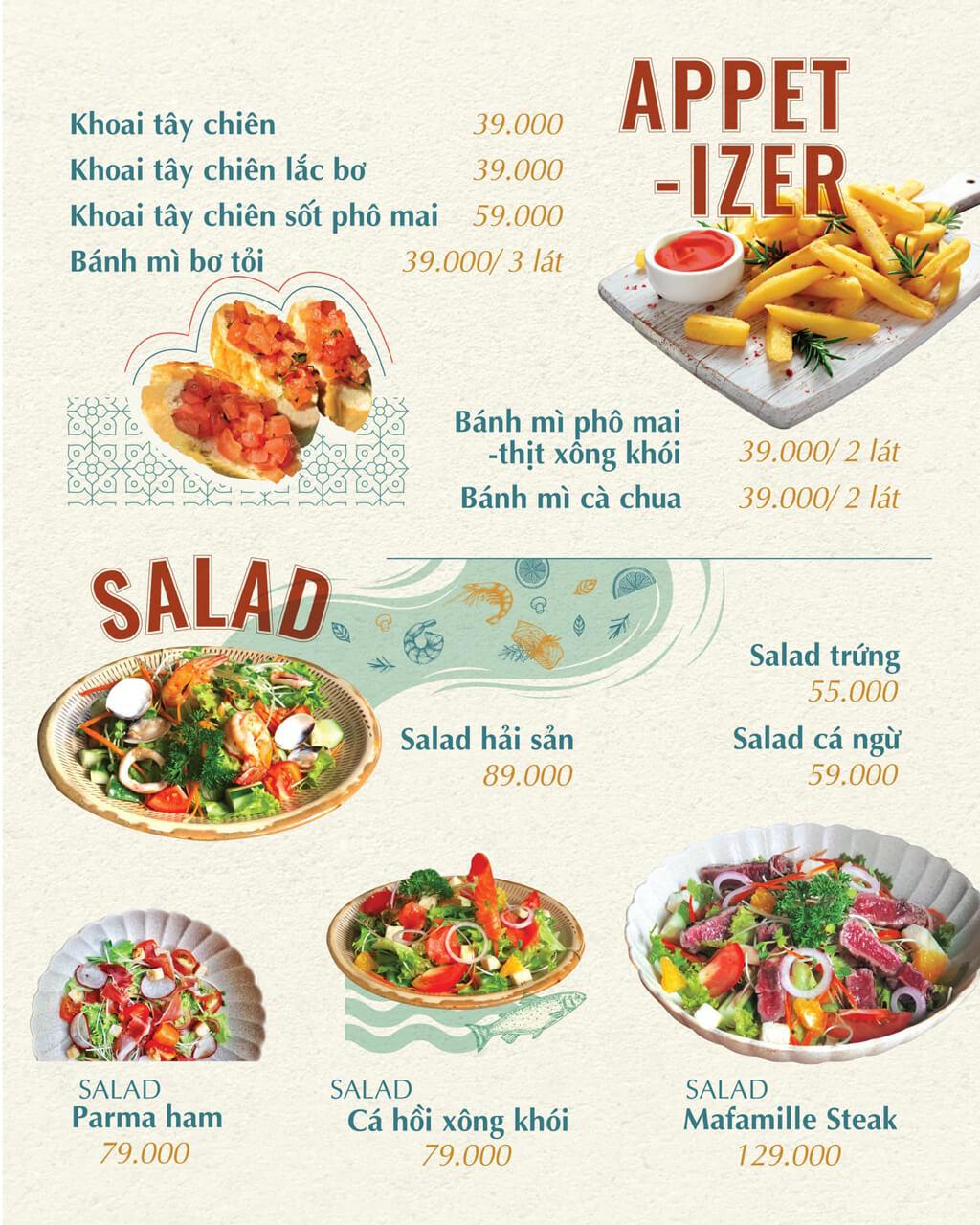 Menu khoai tây và salad Ma Famille Cafeteria Cần Thơ