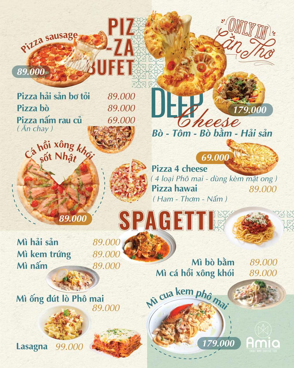 Menu mì Ý và Pizza Ma Famille Cafeteria Cần Thơ