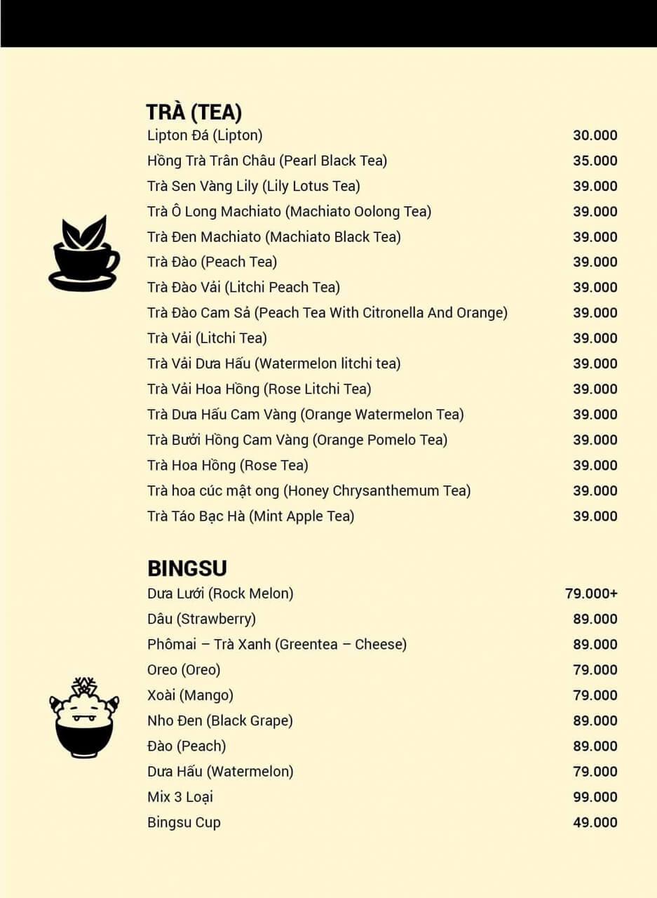 Menu trà và Bingsu ở Lily cafe Cần Thơ